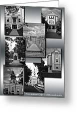 Provincetown Town Hall Cape Cod Massachusetts Collage Bw Vertical Greeting Card