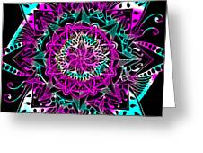 Psychedelic Mandala Greeting Card by Becky Herrera