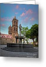 Puebla Zocalo And Cathedral Greeting Card