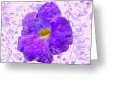 Purple Morning Glory With Pattern Greeting Card