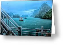 Rain Aboard Au Co Cruise Ha Long Bay  Greeting Card