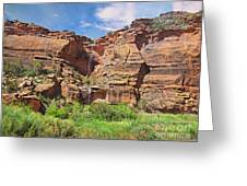 Rain Waterfall Off The Standstone Greeting Card