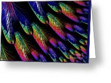 Rainbow Colored Peacock Tail Feathers Fractal Abstract Greeting Card by Rose Santuci-Sofranko
