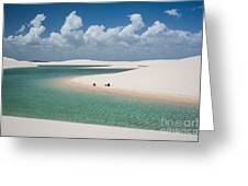 Rainwater Lagoon And Sand Dunes In Greeting Card