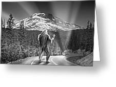 Rear View Of A Sasquatch Hitchhiking Greeting Card