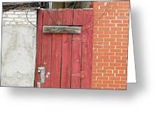 Red Alley Door Chinatown Washington Dc Greeting Card by Edward Fielding