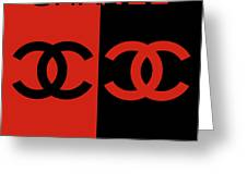 Red And Black Chanel Greeting Card