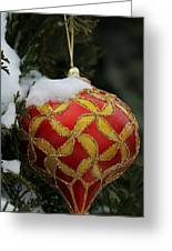 Red And Gold Ornament Greeting Card