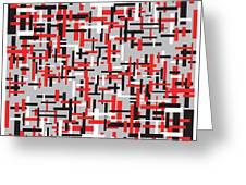 Red Black White Geometric Greeting Card