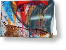 Red Blue Graffiti Abstract Square 2 Greeting Card