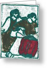Red Detachment Of Women Painting Greeting Card