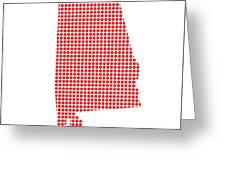 Red Dot Map Of Alabama Greeting Card