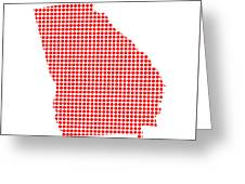 Red Dot Map Of Georgia Greeting Card