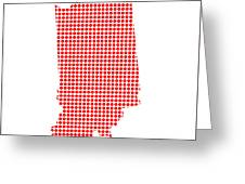 Red Dot Map Of Indiana Greeting Card