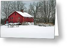 Red New England Colonial In Winter Greeting Card by Wayne Marshall Chase