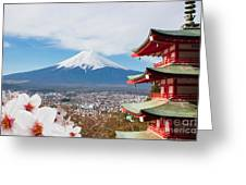 Red Pagoda With Mt Fuji Background And Greeting Card