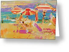 Red Parasols, Miami Greeting Card