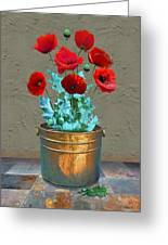 Red Patio Poppies Greeting Card