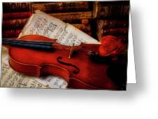 Red Rose And Violin With Sheet Music Greeting Card