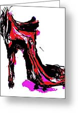 Red Shoe With High Heel Greeting Card