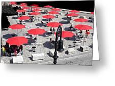 Red Umbrellas 2 Greeting Card
