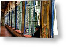 Cloister Contemplation Greeting Card by Jon Exley
