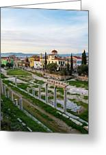 Remains Of The Roman Agora And Cityscape Of  Athens, Greece Greeting Card