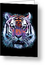 Retro 80s Tiger Face Splatter Paint Greeting Card