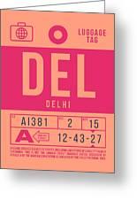 Retro Airline Luggage Tag 2.0 - Del Delhi India Greeting Card