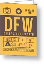 Retro Airline Luggage Tag 2.0 - Dfw Dallas Fort Worth United States Greeting Card