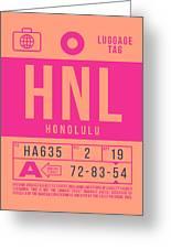 Retro Airline Luggage Tag 2.0 - Hnl Honolulu Hawaii Greeting Card