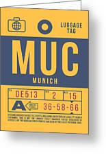 Retro Airline Luggage Tag 2.0 - Muc Munich International Airport Germany Greeting Card