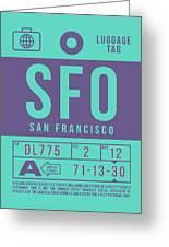 Retro Airline Luggage Tag 2.0 - Sfo San Francisco International Airport United States Greeting Card