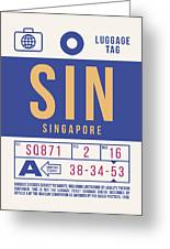 Retro Airline Luggage Tag 2.0 - Sin Singapore Changi Airport Greeting Card