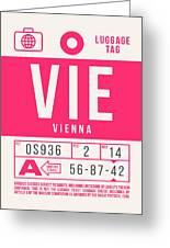 Retro Airline Luggage Tag 2.0 - Vie Vienna International Airport Austria Greeting Card