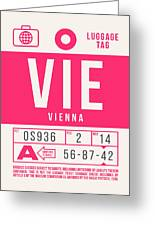 Retro Airline Luggage Tag 2.0 - Vie Vienna International Airport Austria Greeting Card