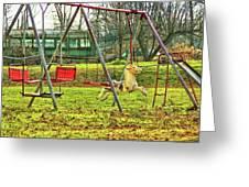 Retro Backyard Play  Greeting Card by JAMART Photography