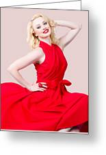 Retro Blond Pinup Woman Wearing A Red Dress Greeting Card