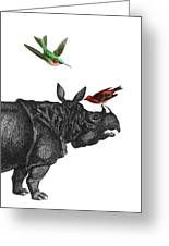 Rhinoceros With Birds Art Print Greeting Card