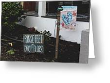 Rinse Feet And Drop Flops Greeting Card