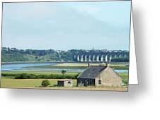 river and bridge towards Berwick upon Tweed scotland Greeting Card