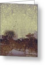 River Village With Grunge Greeting Card
