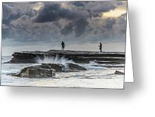 Rock Ledge, Spear Fishermen And Cloudy Seascape Greeting Card