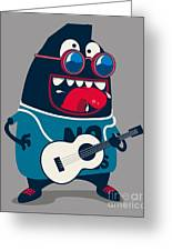 Rock Star Monster, Guitar Greeting Card