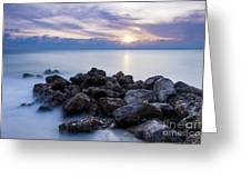 Rocky Beach At Sunset II Greeting Card by Brian Jannsen