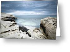 Rocky Coast With White Limestones And Cloudy Sky Greeting Card by Michalakis Ppalis