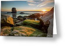 Rocky Pismo Sunset Greeting Card by Mike Long