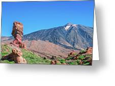 Roque Cinchado In Front Of Mount Teide Greeting Card