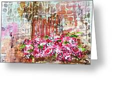 Rose Bundle With Copper Pot Greeting Card
