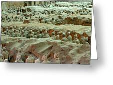 Rows Of Terra Cotta Warriors In Pit 1 Greeting Card